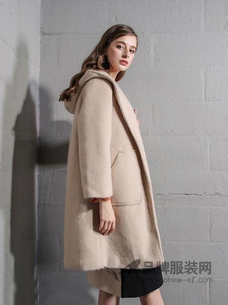 戴莉格琳女装2017秋冬阿尔巴卡羊驼毛大衣连帽双面呢羊毛中长款外套