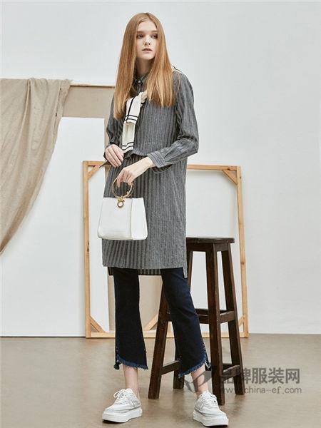 如缤RUBIN女装2017秋冬时尚休闲中长条纹女外套