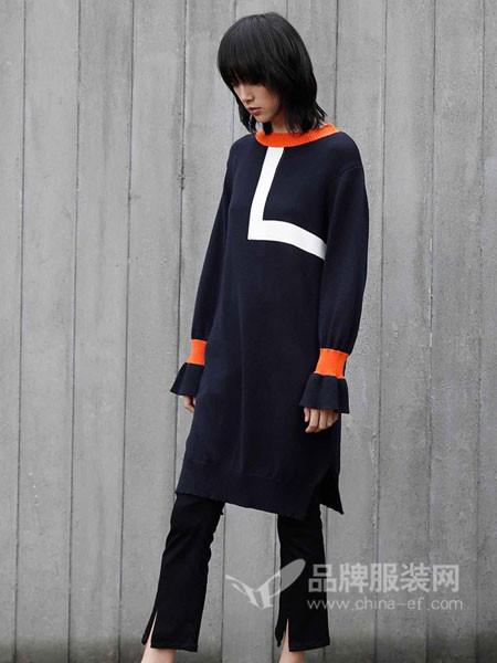 BUKHARA布卡拉女装2017秋冬时尚欧式休闲撞色中长毛衣