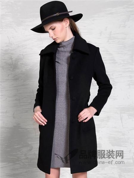 自由鸟女装2017秋冬中长款羊毛呢料风衣外套时尚收腰系带大衣