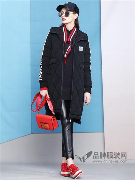 曼诺比菲女装2017秋冬休闲时尚中长棒球服外套