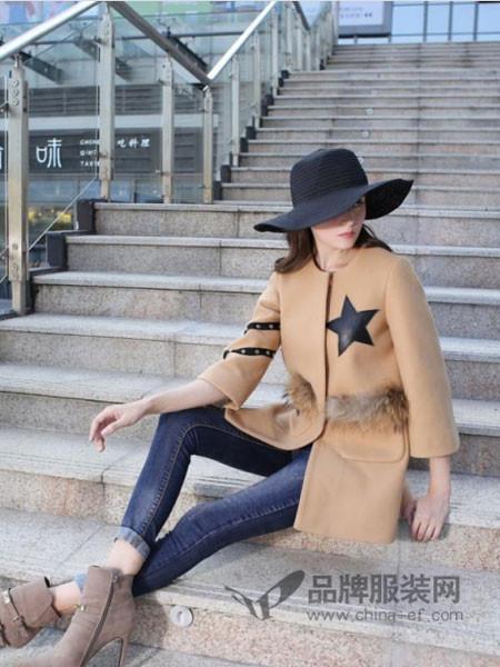 摩兰度、哈利淑阁女装2017秋冬时尚欧式星星印花呢子大衣
