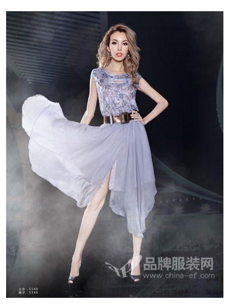 Mirror女装时尚印花短袖雪纺连衣裙