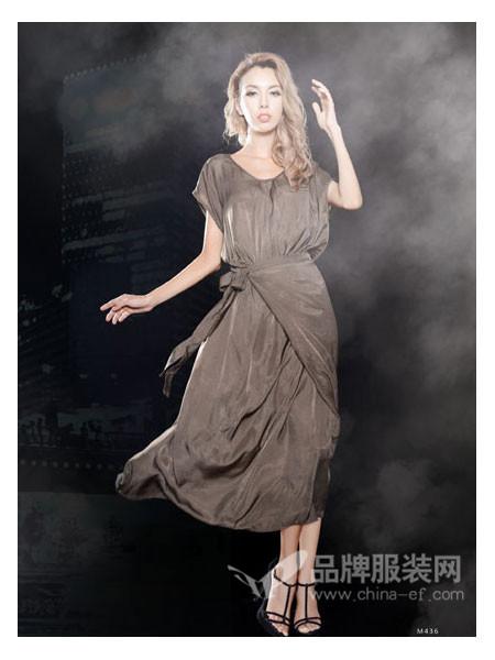 Mirror女装松紧腰蝴蝶结交叉V领短袖高腰连衣裙