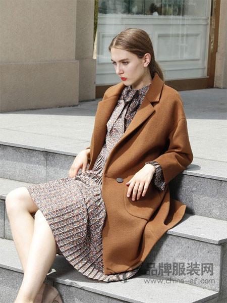 吉米赛欧女装韩版焦糖色双面呢大衣女宽松中长款2017秋冬新款气质羊毛毛呢外套