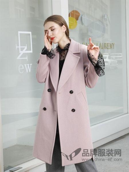 吉米赛欧女装2017秋冬西装领毛呢外套女双排扣宽松茧型羊毛大衣