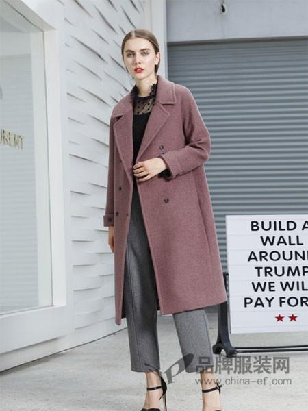 吉米赛欧女装2017秋冬百搭气质羊毛绒宽松中长款外套