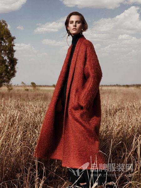 米茜尔女装2017冬季时尚休闲大气中长毛呢外套