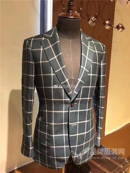 荷森男装2017秋冬韩版修身格子西装套装