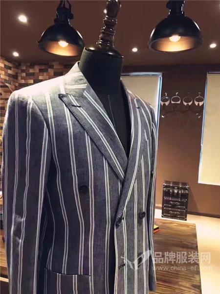 荷森男装2017秋冬小西装商务结婚条纹西服外套