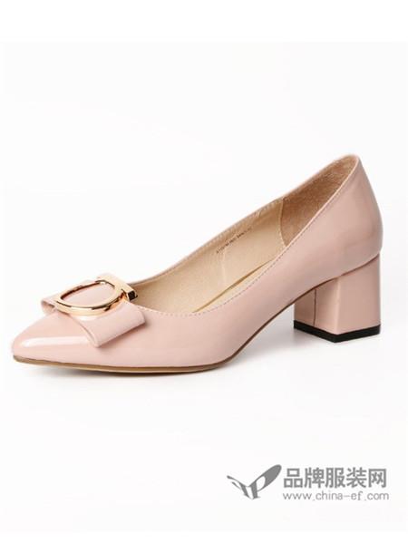 伽马射线鞋休闲圆扣尖头女士中口粗跟鞋高跟单鞋