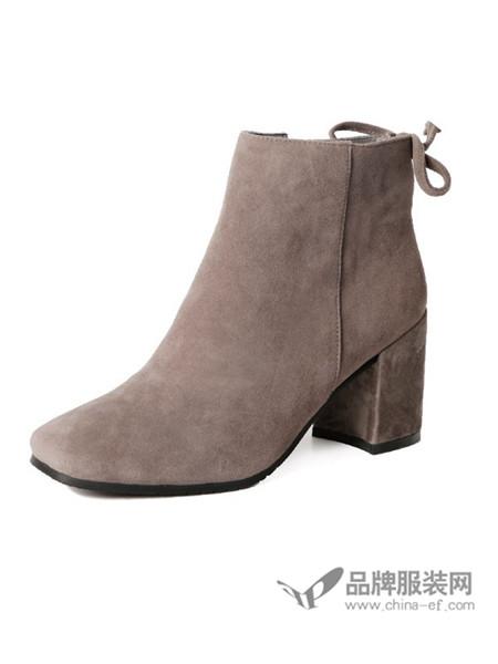 伽马射线鞋马丁靴真皮短靴磨砂粗跟短筒靴时尚欧美裸靴尖头及踝靴子