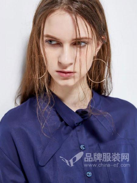 婕妮煕女装2018新品纯色百搭显瘦藏青色防晒衬衫