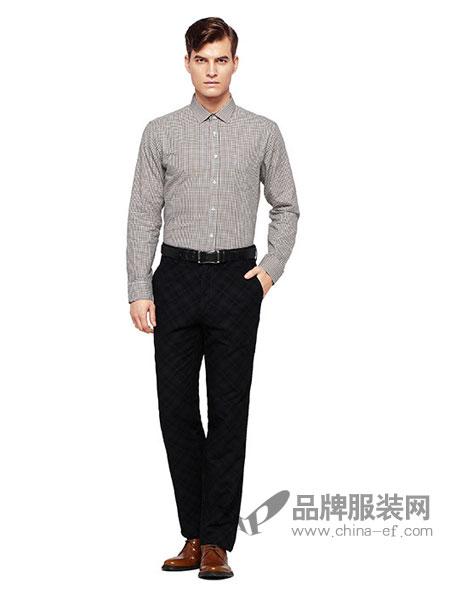 DEON狄安男装2017秋冬新款时尚格子长袖衬衣