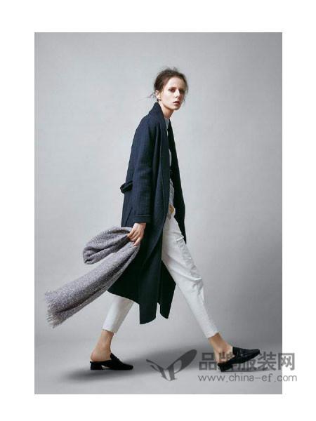 意澳女装2017秋冬文艺休闲中长系带棉麻外套