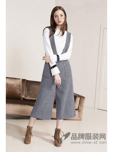 雪歌女装2017秋冬韩版气质显瘦格子背带时尚休闲连体裤