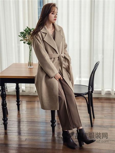 JOAMOM女装2017秋冬系带超长款双面羊绒大衣女西装领大码呢子大衣外套