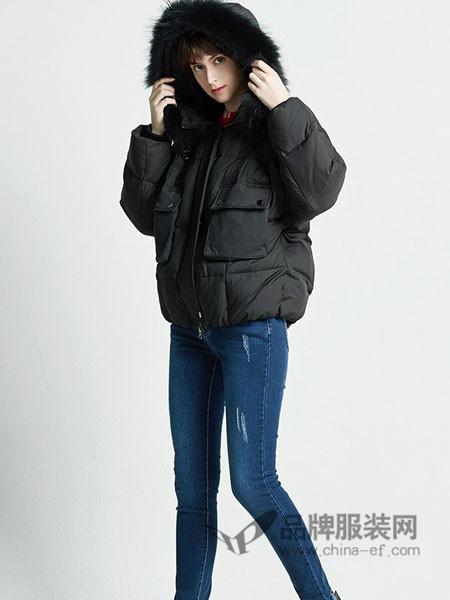 BearTwo女装2017秋冬加厚韩国单白鸭短款羽绒服外套