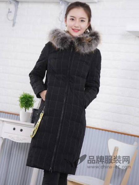 伽戈女装2017秋冬貉子毛领连帽条纹外套中长款羽绒服