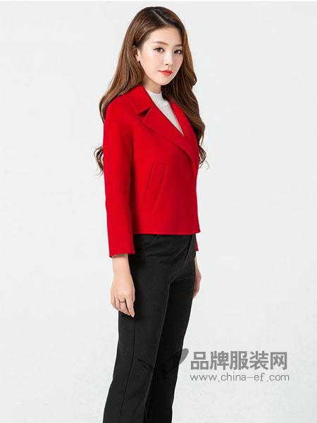 玛妮奴女装2017冬季韩版潮单排扣时尚修身显瘦短款双面羊毛呢子大衣