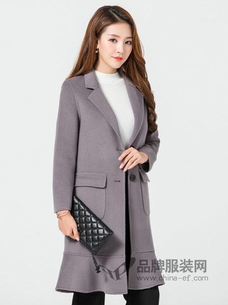 玛妮奴女装2017冬季中长款修身韩版百搭显瘦双面羊毛呢大衣