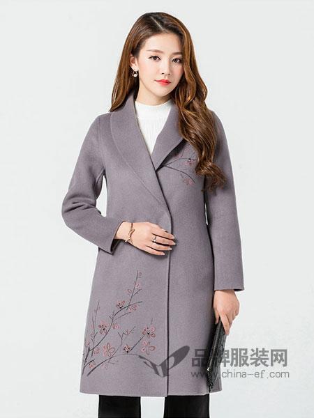 玛妮奴女装2017冬季双面绒羊毛呢中长款外套