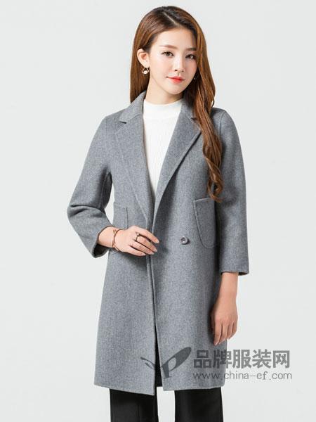 玛妮奴女装2017冬季双面绒羊毛呢大衣女式纯手工韩版直筒中长款外套