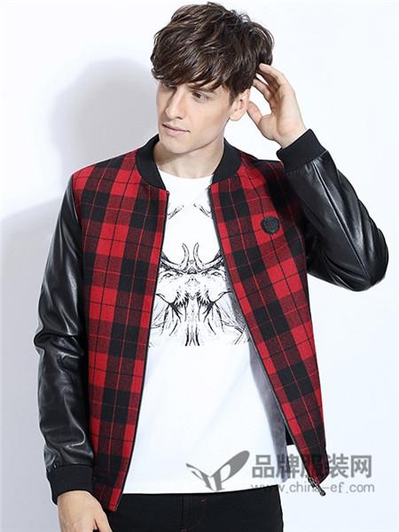 RED.P.G losacos时尚男装男装2017秋冬时尚格子夹克棒球领羊毛外套休闲夹克