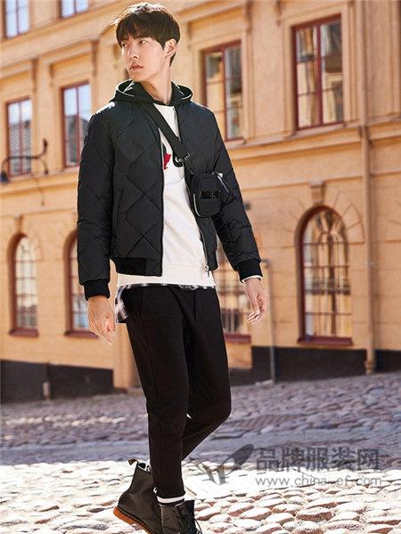 太平鸟风尚男装PEACEBIRDYM男装2017秋冬棒球领菱格男士短款白鸭绒羽绒衣外套