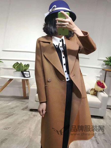 雨珊女装2017秋冬高端中长款羊绒双面呢大衣宽松风衣
