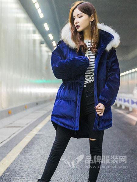 诺诗琪女装2017秋冬宝蓝色面包服金丝绒中长款羽绒服