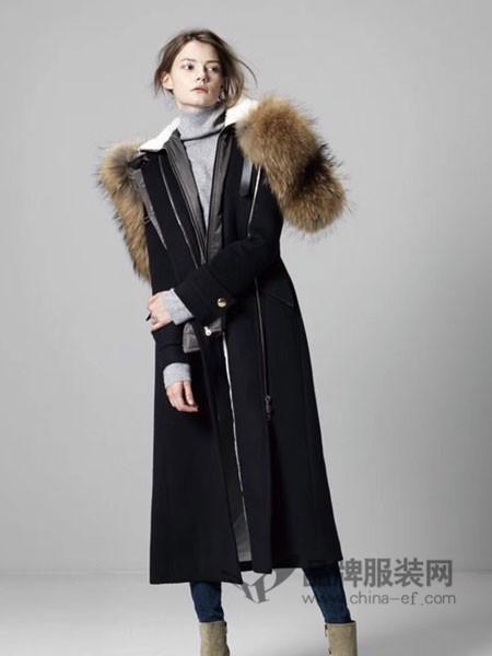 格纶雅女装2017冬季时尚拉链帽子大毛领长款羊绒大衣