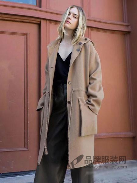 格纶雅女装2017冬季羊毛呢大衣抽绳气质外套