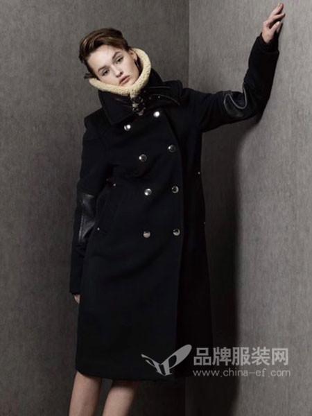 格纶雅女装2017冬季韩版宽松中长款呢子立领过膝气质显瘦毛呢外套