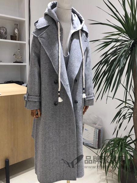 格纶雅女装2017冬季欧式呢子连帽双排扣修身高档呢大衣