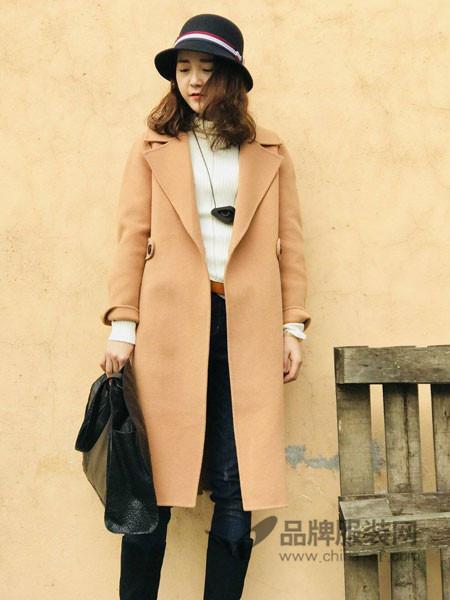 底色女装2017冬季大翻领气质直筒版简约韩范中长款毛呢大衣