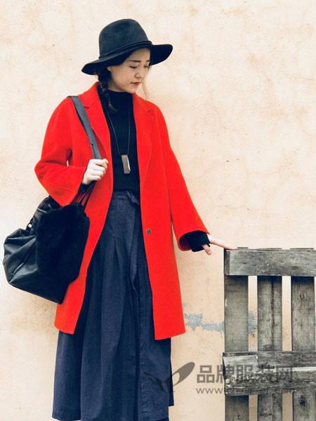 底色女装2017冬季创设计纯手工双面羊毛重磅长大衣 圣诞大红外套