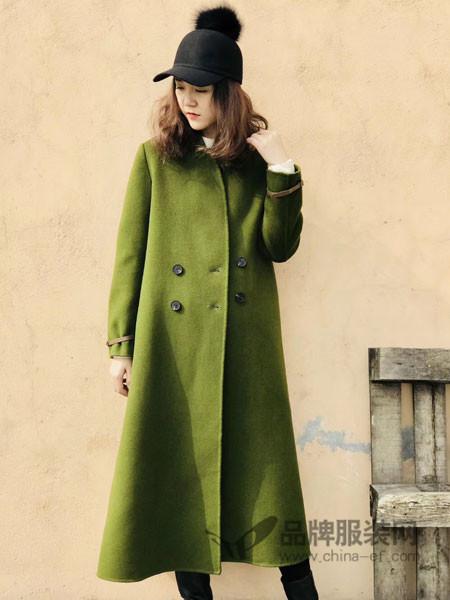 底色女装2017冬季纯色西装领长袖配腰带开叉大衣