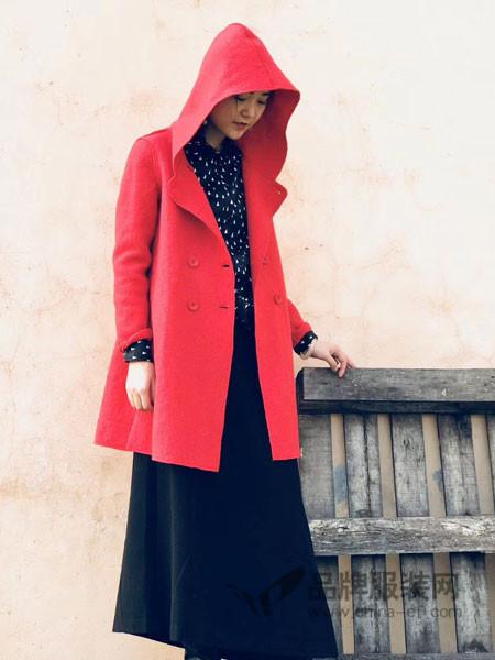 底色女装2017冬季双面呢连帽中长呢子外套