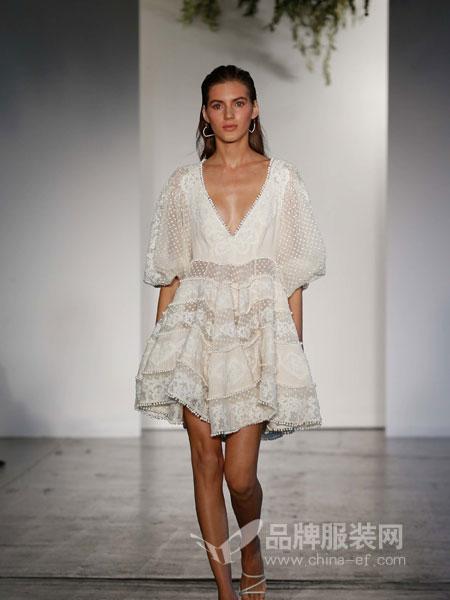 Zimmermann2018度假系列V领重工蕾丝透视珠珠蓬蓬连衣裙