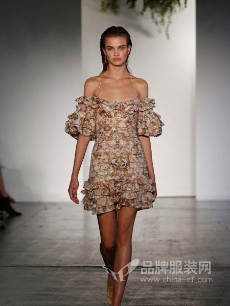 Zimmermann2018度假系列一字肩吊带褶皱层叠灯笼袖丝麻连衣裙礼服裙