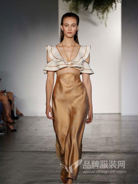 Zimmermann2018度假系列性感镂空V领吊带小礼服优雅荷叶拼接开叉连衣裙