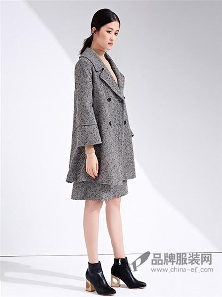 念奴娇女装2017秋冬意大利进口羊毛灰色长毛长款翻领双排扣大衣