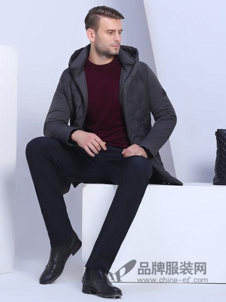 萨卡罗S.ALCAR男装2017秋冬连帽纯色休闲茄克中年大码修身男装上衣