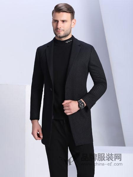 萨卡罗S.ALCAR男装2017秋冬韩版修身帅气英伦毛呢大衣男青年妮子外套