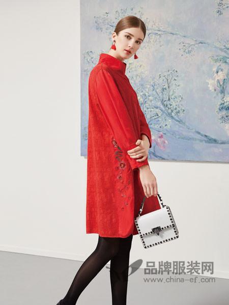秀蓓儿女装2017冬季复古刺绣棉麻中长款中式旗袍宽松打底裙