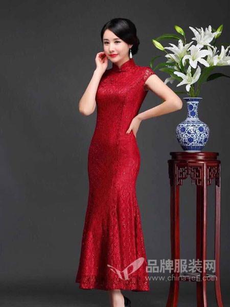 东方贵族女装2017秋冬复古显瘦主持婚礼宴会长款女神蕾丝旗袍裙