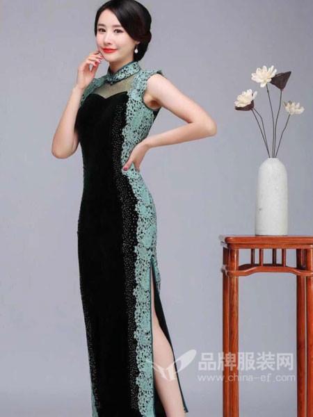 东方贵族女装2017秋冬蕾丝时尚改良奢华修身弹力丝绒晚装礼服裙