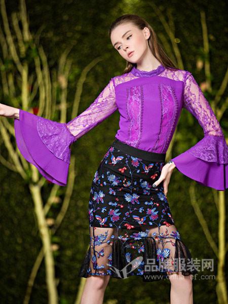 图案女装2018春夏花领透视薄纱刺绣喇叭袖雪纺上衣