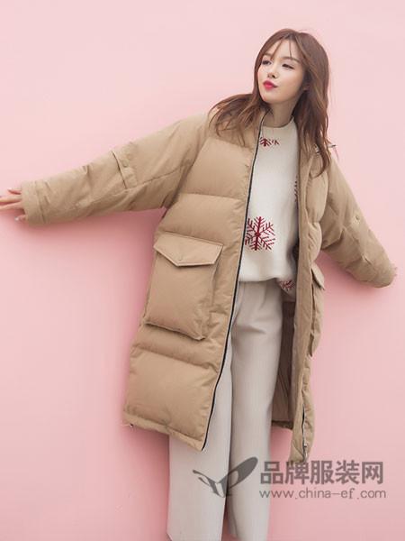 百变伊伊女装2017秋冬韩版过膝棉衣外套宽松加厚面包服